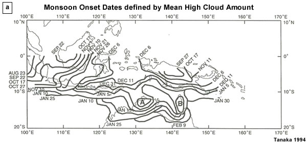 Monsoon onset dates defined by the threshold value of more than 30% of the mean high cloud amount for the monsoon season. Regions A and B had onset prior to 15 December and 26 December, respectively.